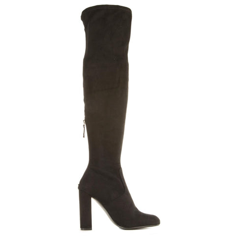 Steve Madden for Women: Emotions Black Thigh High Heeled Boots