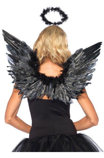 2pc. Angel Accessory Kit, includes wings and halo in BLACK