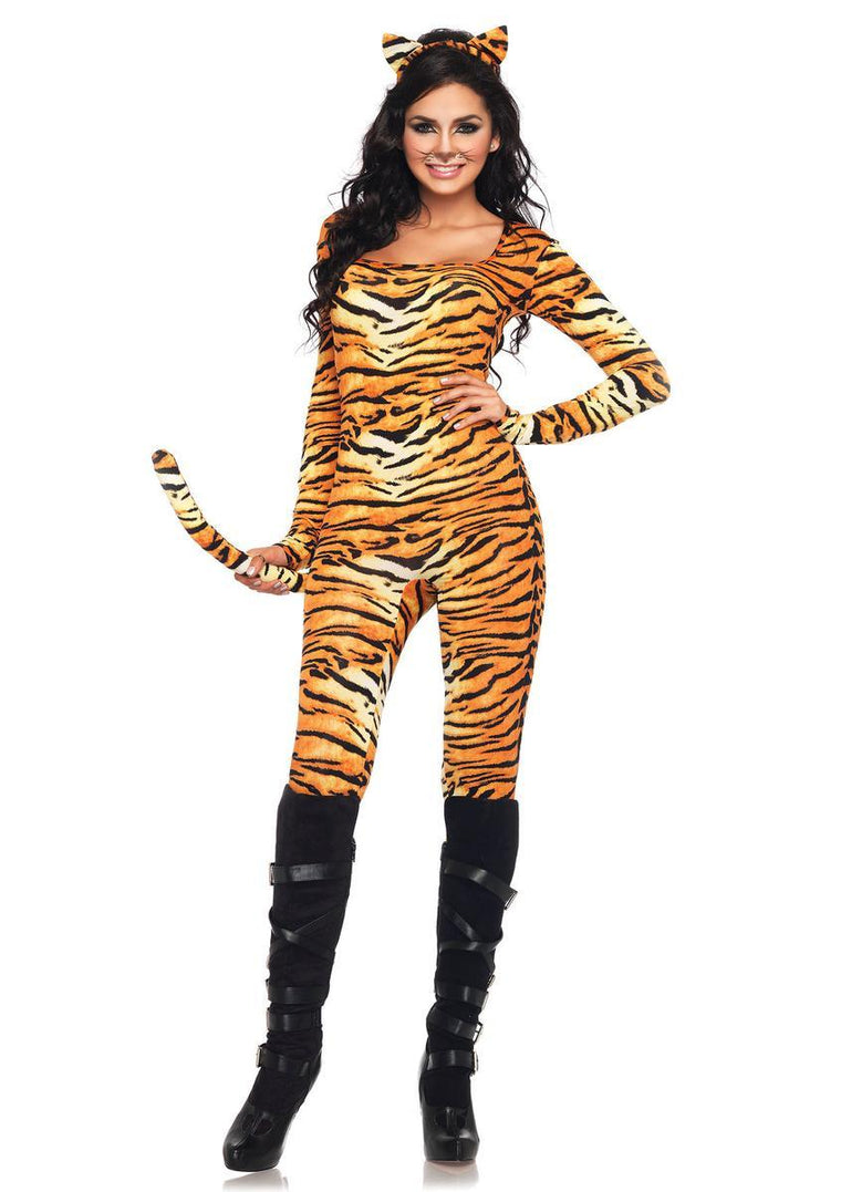 2PC.Wild Tigress,catsuit w/tail and matching ear headband X-LARGE ORANGE/BLACK