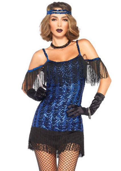 2PC.Gatsby Flapper,waterfall sequin dress and headband in BLACK/BLUE