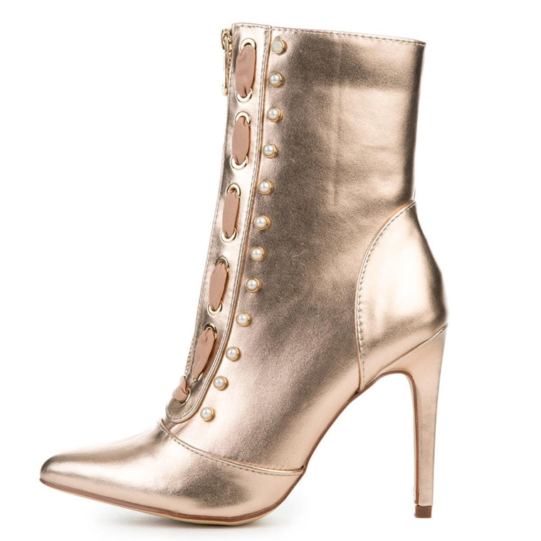 Cape Robbin Gigi-17 Women's Rose Gold High Heel Boot