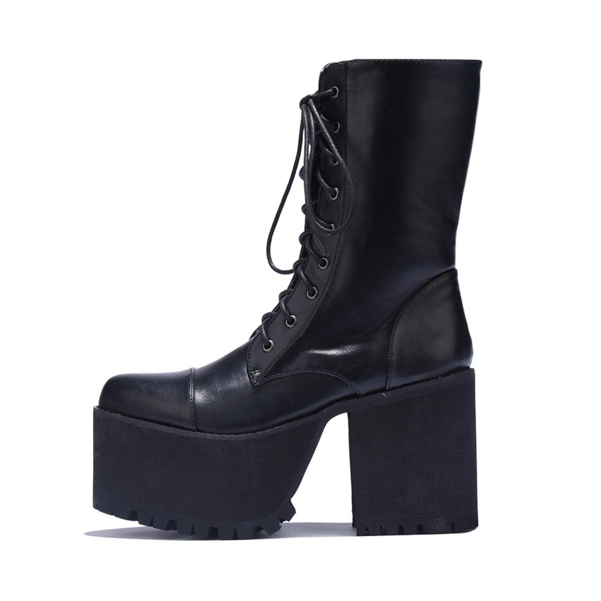 Y.R.U. for Women: Wolfenstein Black Platform Heel Boots