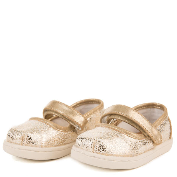 Tiny Toms: Gold Metallic Foil Mary Jane Flats