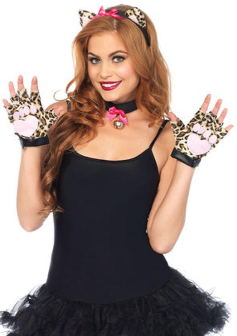 3PC.Cougar Kit,studded fingerless paws,ear headband,bell collar in LEOPARD