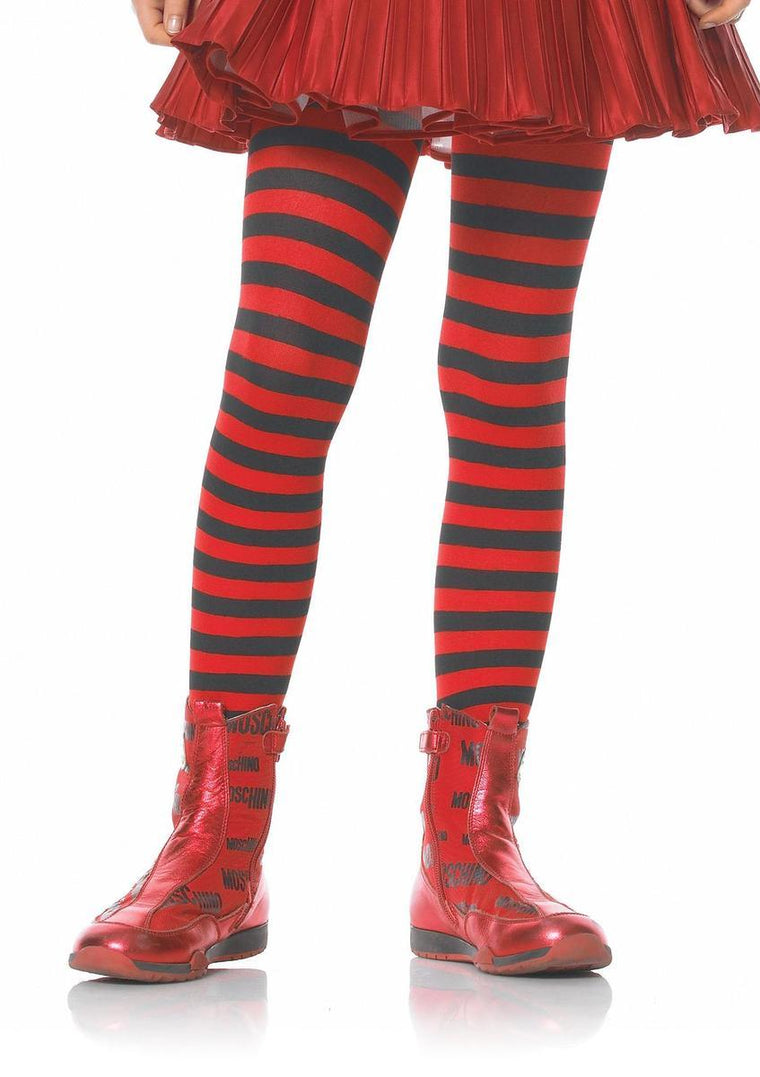 Girl Stripe Tights in BLACK/RED