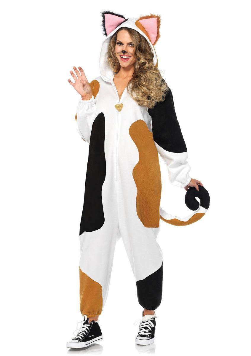 Calico Cat Kigarumi Funsie,fleece onesie w/long kitty tail in MULTICOLOR