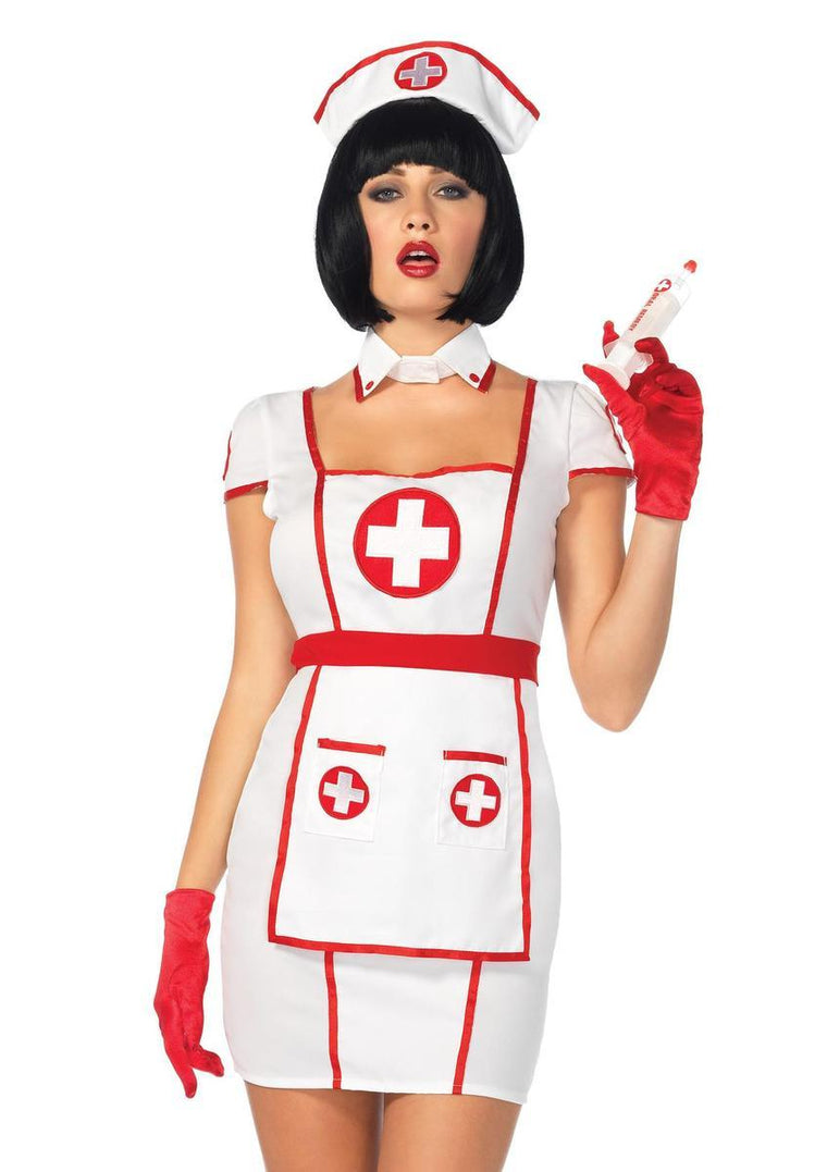3PC.Hospital Heartbreaker,apron dress,collar choker,head piece in WHITE/RED