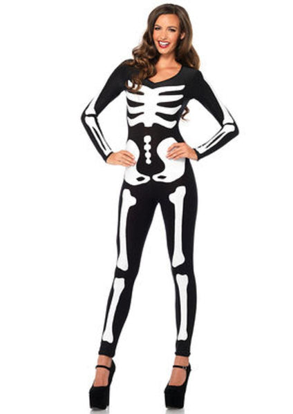 Spandex printed glow-in-the-dark skeleton catsuit in BLACK/WHITE