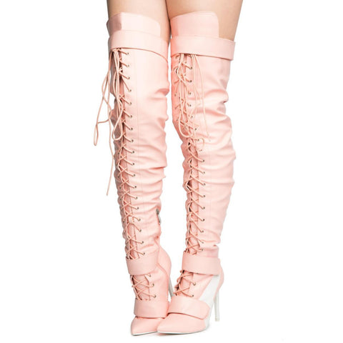 Cape Robbin Gigi-6 Women's Pink Heeled Thigh High Boots