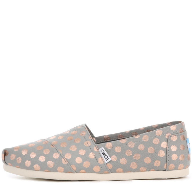Toms for Women: Classic Polka Dots Grey Flats