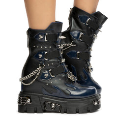 Blue Dream Platform Booties With Studs