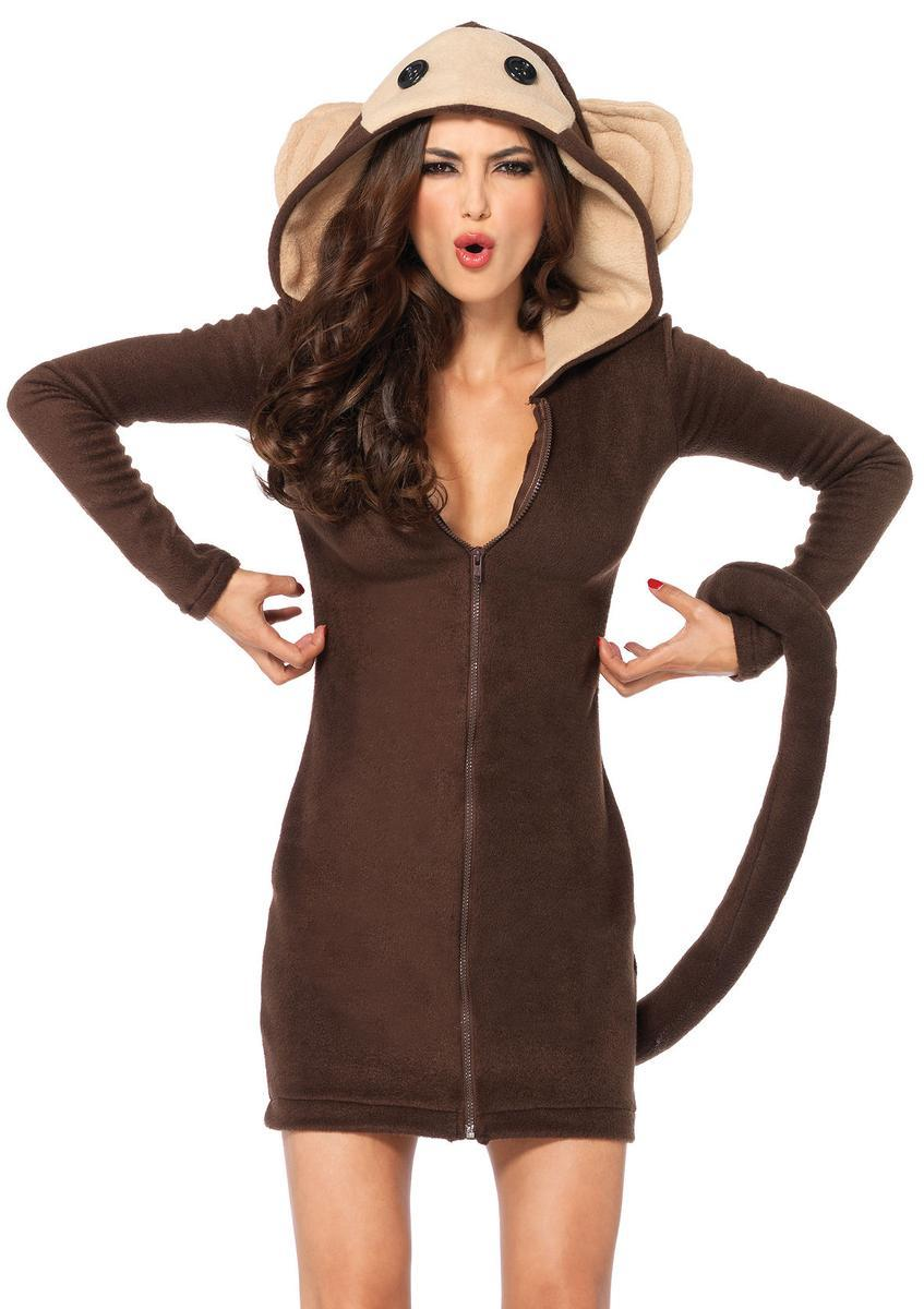 Cozy Monkey,dress w/attached tail, and funny face hood in BROWN