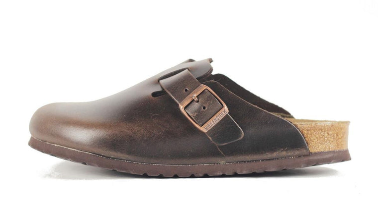 Birkenstock for Men: Boston Leather Amalfi Testa Di Moro Sandal