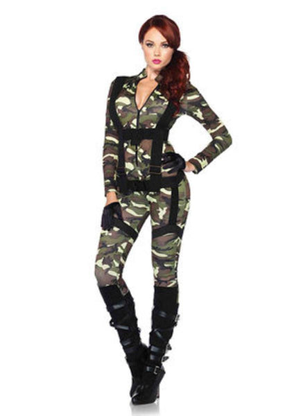 2PC.Pretty Paratrooper,zipper front camo jumpsuit and body harness in CAMO