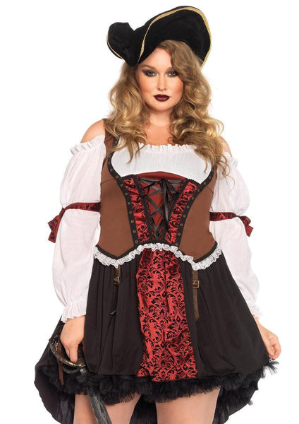 Ruthless Pirate Wench,brocade peasant dress,high/low skirt in MULTICOLOR