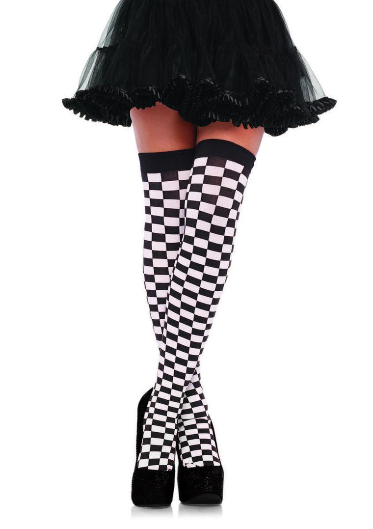 Checkered Stockings O/S BLACK/WHITE