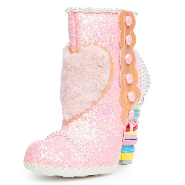 Irregular Choice Bee Delicious Women's Pink Heeled Booties
