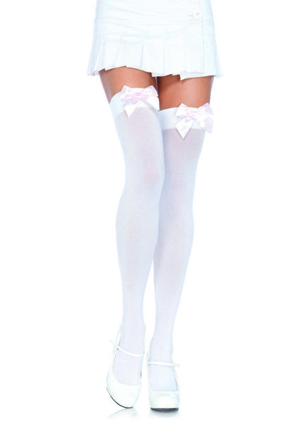 Nylon Over The Knee W/Bow O/S WHITE/L.PINK