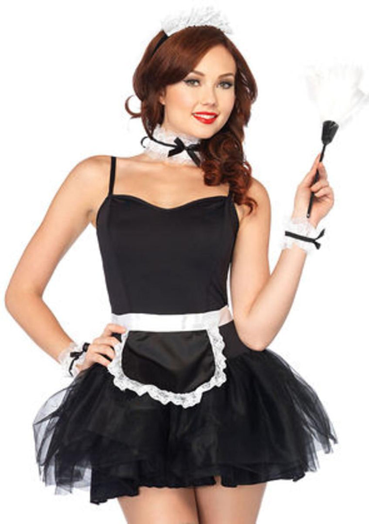 4PC.French Maid Kit,apron, neck piece, wrist cuffs, and headband in BLACK/WHITE