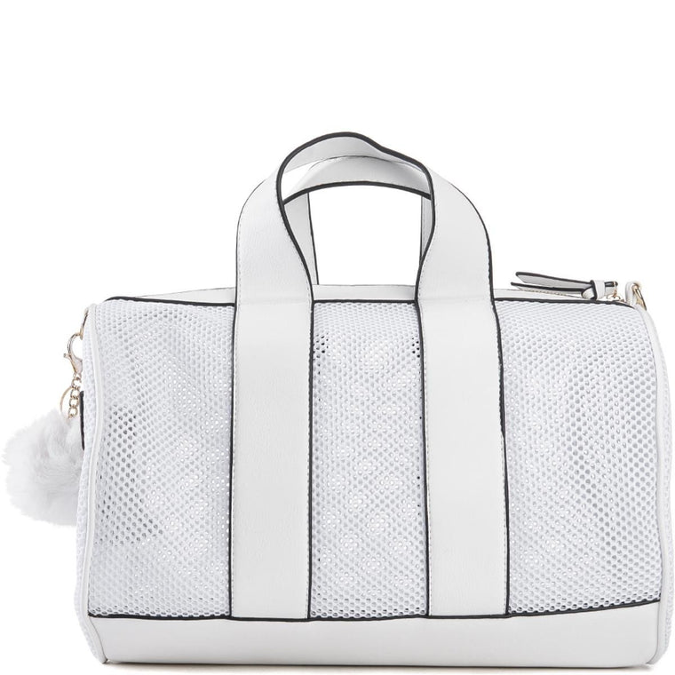 Trim Mesh White Duffle Bag