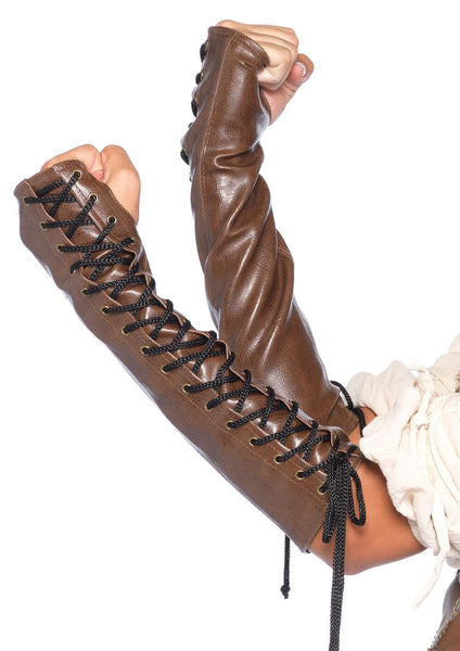 Faux leather lace up arm warmer in BROWN