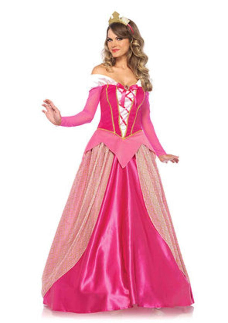 2PC.Princess Aurora,satin long ball gown and golden crown in PINK