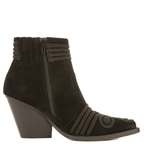 Jeffrey Campbell for Women: Gatlin-EMB Black Suede Heeled Booties