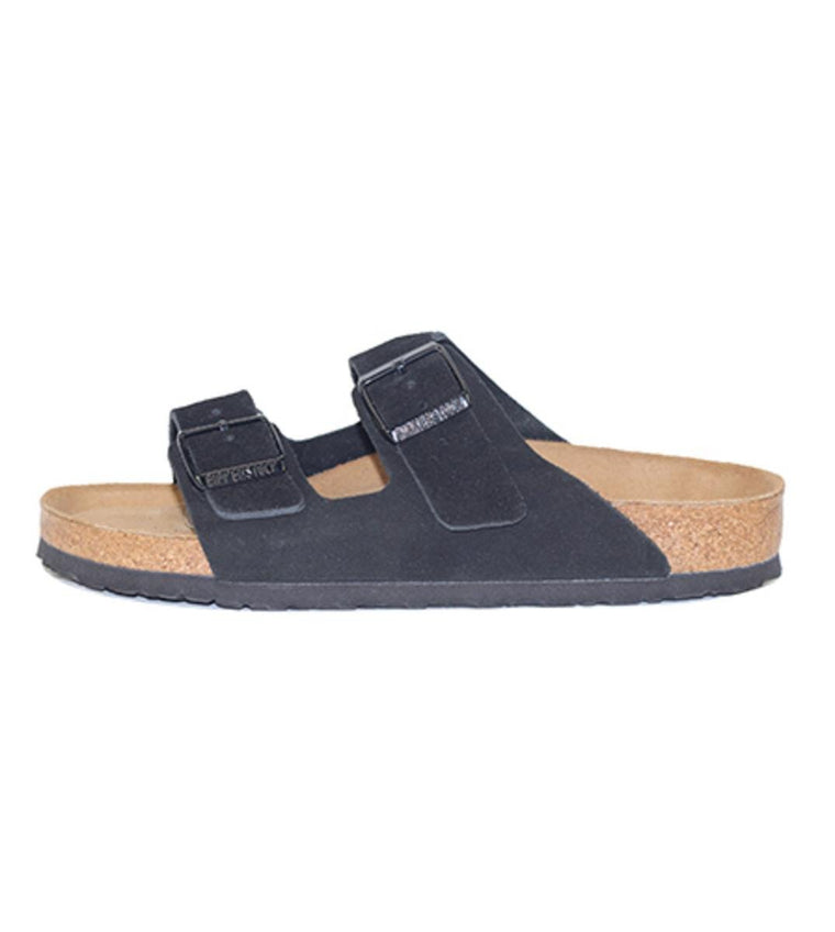 Birkenstock Unisex: Arizona Soft Footbed Black Suede Sandal