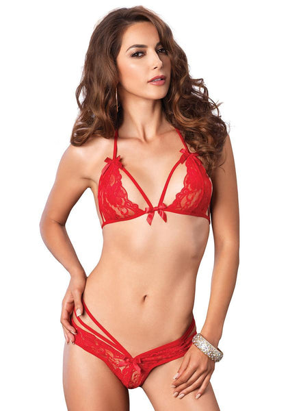 2PC.Strappy lace halter bra top peek-a-boo brazilian panty in RED