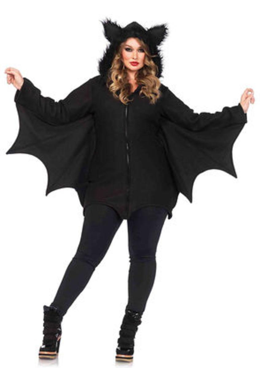 Cozy Bat,dress w/bat wing sleeves and furry ear hood in BLACK