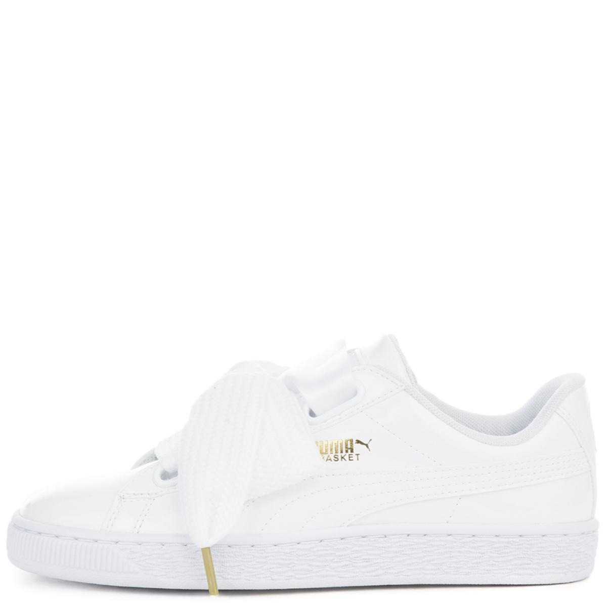 Women's Basket Heart Patent White Sneaker