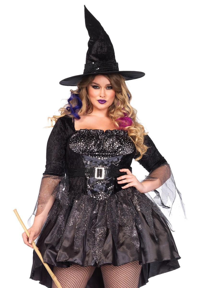 2PC.Black Magic Mistress,high/low dress,attached belt, hat in BLACK