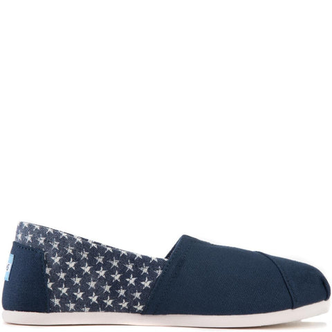 Toms for Women: Classic Americana Navy Canvas Stars Flats