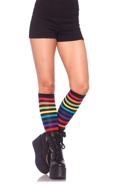 Rainbow striped knee highs in MULTICOLOR