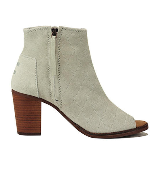 Toms for Women: Majorca Peep Toe Bootie High Rise Grey Suede Quilted