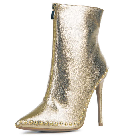 Women's Giselle Gold Heeled Booties