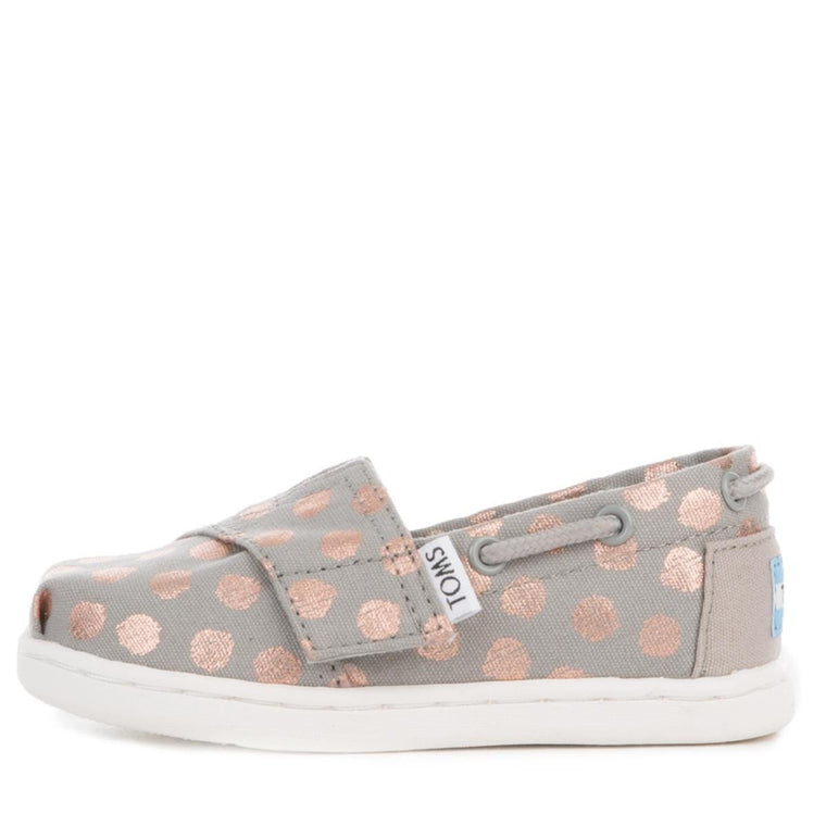 Toms for Toddlers: Drizzle Grey/Rose Gold Foil Polka Dot Bimini