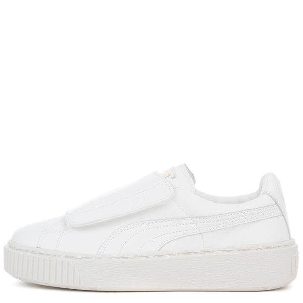 separation shoes 52e6f 731d2 Puma Basket Platform Big Strap White Women's Sneaker