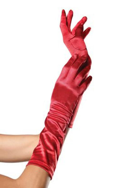 ELBOW LENGTH SATIN GLOVES in RED