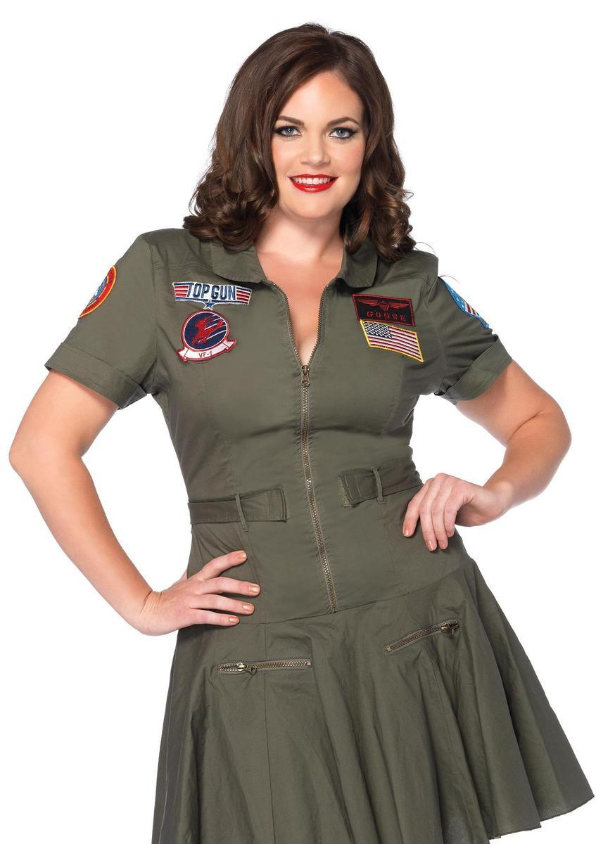 Plus Sized Top Gun Women's Flight Dress w/interchangeable badges in KHAKI