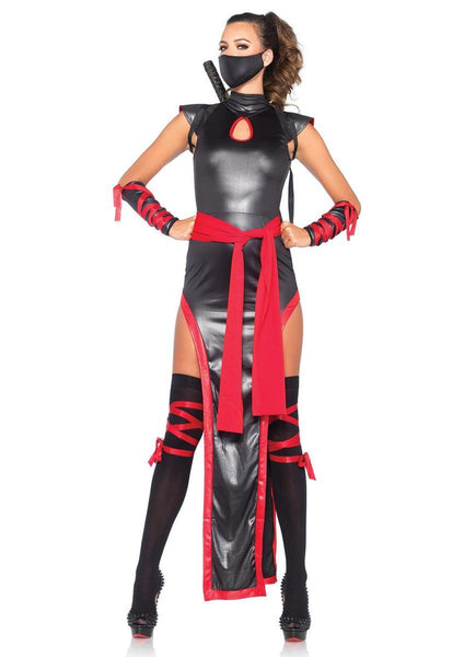 5PC.Shadow Ninja,dress,sash,mask,arm guards,thigh highs in BLACK/RED