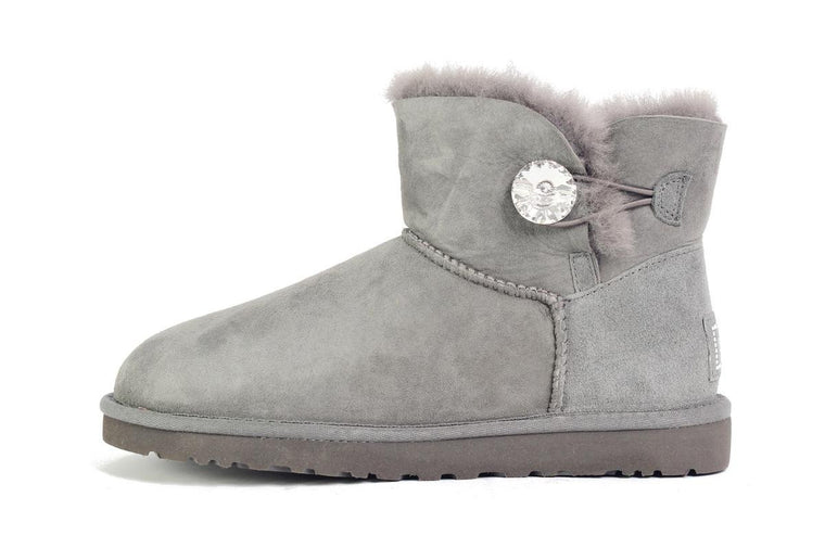 UGG Australia for Women: Mini Bailey Button Bling Grey Boots