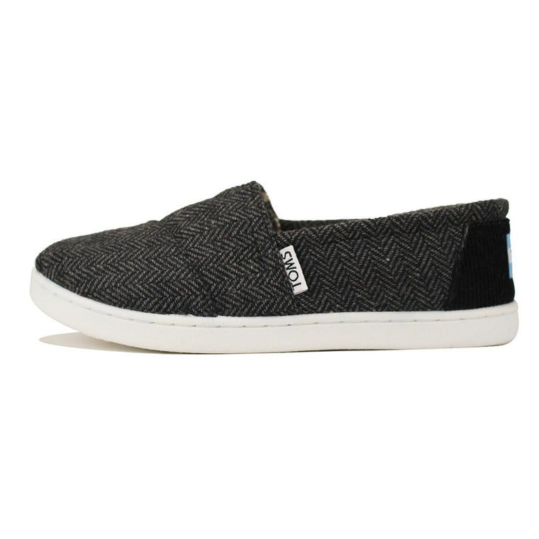 Toms for Kids: Classic Black Wool Herringbone Flat