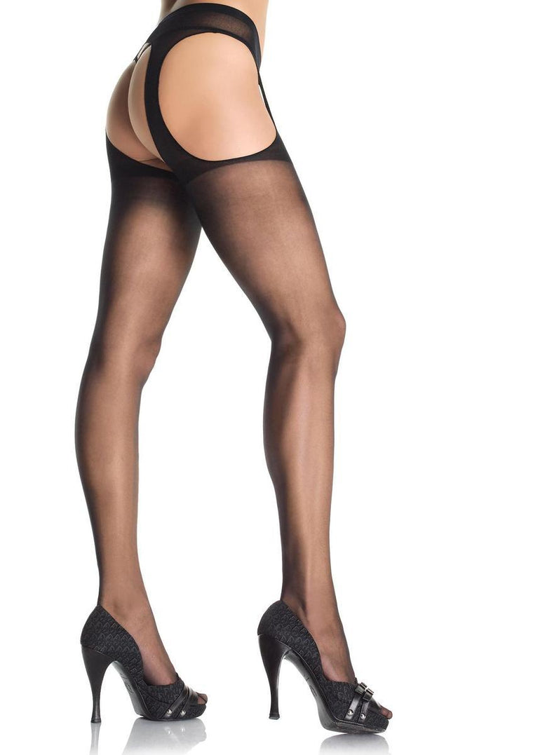 Sheer Suspender Pantyhose in BLACK