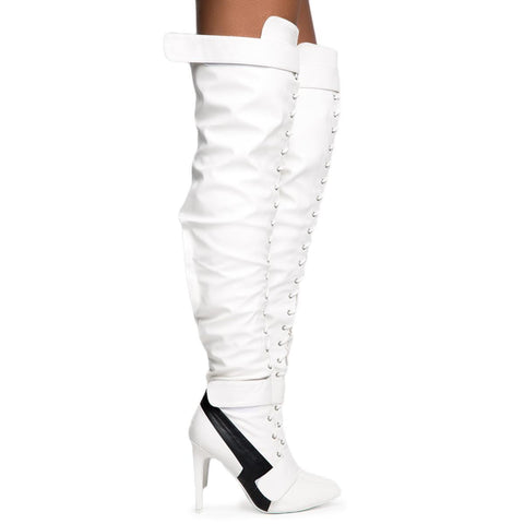 Cape Robbin Gigi-6 Women's White Heeled Boots