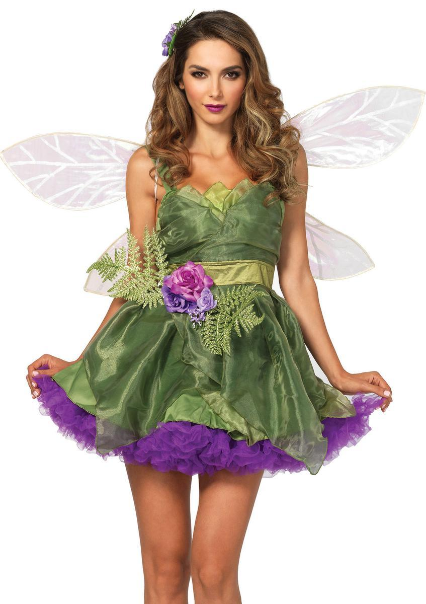 3PC.Woodland Fairy,organza dress,waist sash w/flower,hair clip in GREEN