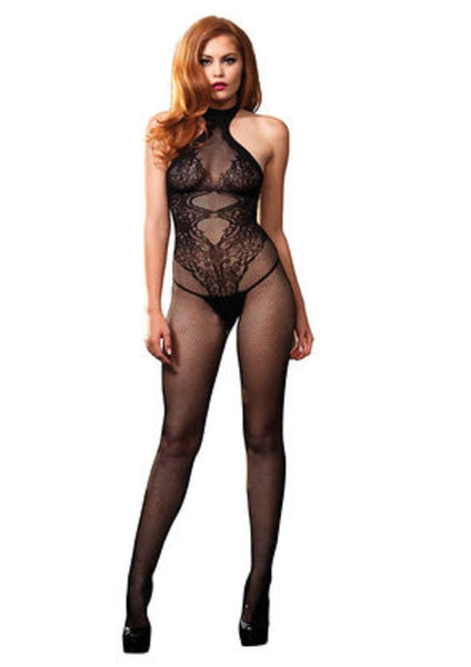 Fishnet seamless halter bodystocking w/floral lace hourglass in BLACK