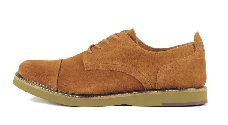 JD Fisk for Men: Jenson Tobacco Suede Oxford Oxford