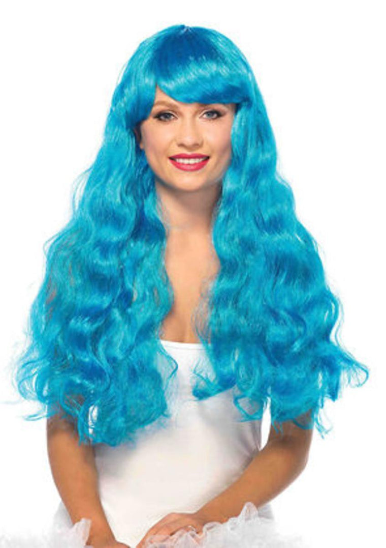Neon Star long wavy wig in NEON BLUE