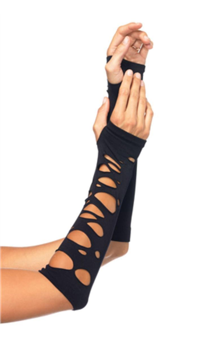 Distressed arm warmers in BLACK